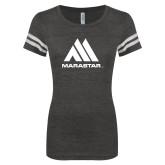 ENZA Ladies Black/White Vintage Football Tee-Marastar