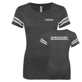 ENZA Ladies Black/White Vintage Football Tee-Cragar Classic