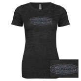 Next Level Ladies Junior Fit Black Burnout Tee-Cragar Graphite Soft Glitter