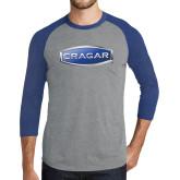Grey/Royal Heather Tri Blend Baseball Raglan-Cragar