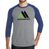 Grey/Royal Heather Tri Blend Baseball Raglan-Marastar
