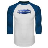 White/Royal Raglan Baseball T Shirt-Cragar