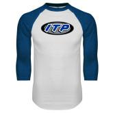 White/Royal Raglan Baseball T Shirt-ITP