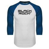 White/Royal Raglan Baseball T Shirt-Black Rock