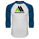 White/Royal Raglan Baseball T Shirt-Marastar