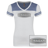 Ladies White/Heathered Royal Juniors Varsity V Neck Tee-Cragar Silver Soft Glitter