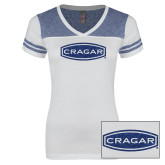 Ladies White/Heathered Royal Juniors Varsity V Neck Tee-Cragar Dark Blue Glitter