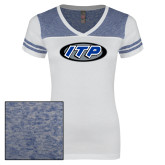 Ladies White/Heathered Royal Juniors Varsity V Neck Tee-ITP