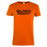 Ladies Orange T Shirt-Black Rock