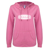 ENZA Ladies Hot Pink V Notch Raw Edge Fleece Hoodie-Cragar