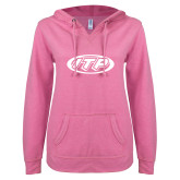 ENZA Ladies Hot Pink V Notch Raw Edge Fleece Hoodie-ITP