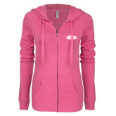 ENZA Ladies Hot Pink Light Weight Fleece Full Zip Hoodie-Cragar