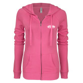 ENZA Ladies Hot Pink Light Weight Fleece Full Zip Hoodie-ITP