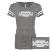 ENZA Ladies Dark Heather/White Vintage Football Tee-Cragar White Soft Glitter