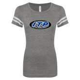 ENZA Ladies Dark Heather/White Vintage Football Tee-ITP