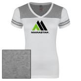Ladies White/Heathered Grey Juniors Varsity V Neck Tee-Marastar