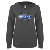 ENZA Ladies Dark Heather V Notch Raw Edge Fleece Hoodie-Cragar