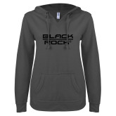 ENZA Ladies Dark Heather V Notch Raw Edge Fleece Hoodie-Black Rock