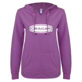 ENZA Ladies Berry V Notch Raw Edge Fleece Hoodie-Cragar