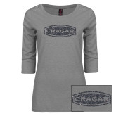 Ladies Grey Heather Lace 3/4 Sleeve Tee-Cragar Graphite Soft Glitter