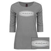 Ladies Grey Heather Lace 3/4 Sleeve Tee-Cragar White Soft Glitter