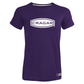 Ladies Russell Purple Essential T Shirt-Cragar