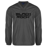 V Neck Charcoal Raglan Windshirt-Black Rock