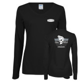 Ladies Black Long Sleeve V Neck Tee-Cragar