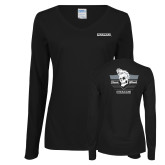 Ladies Black Long Sleeve V Neck Tee-Cragar Classic