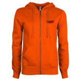 ENZA Ladies Orange Fleece Full Zip Hoodie-Black Rock