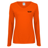 Ladies Orange Long Sleeve V Neck Tee-Black Rock