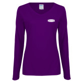 Ladies Purple Long Sleeve V Neck Tee-Cragar