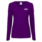 Ladies Purple Long Sleeve V Neck Tee-ITP
