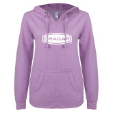 ENZA Ladies Hot Violet V Notch Raw Edge Fleece Hoodie-Cragar