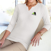 Ladies V Notch White 3/4 Sleeve Shirt-Marastar