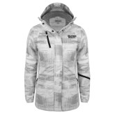 Ladies White Brushstroke Print Insulated Jacket-Black Rock