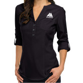 Ladies Glam Black 3/4 Sleeve Blouse-Marastar