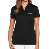 Ladies Callaway Tulip Sleeve Black Zip Polo-Black Rock