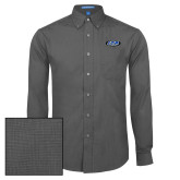 Mens Dark Charcoal Crosshatch Poplin Long Sleeve Shirt-ITP