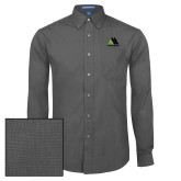 Mens Dark Charcoal Crosshatch Poplin Long Sleeve Shirt-Marastar