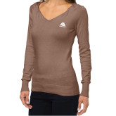 Ladies Fuse Mocha V Neck Sweater-Marastar
