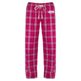 Ladies Dark Fuchsia/White Flannel Pajama Pant-ITP