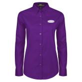 Ladies Purple Twill Button Down Long Sleeve-Cragar