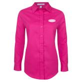 Ladies Tropical Pink Long Sleeve Twill Shirt-Cragar