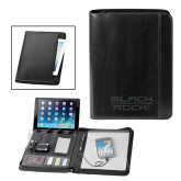 Fabrizio Black Zip Padfolio w/Power Bank-Black Rock  Engraved