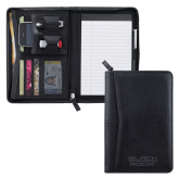 Pedova Black Junior Zippered Padfolio-Black Rock  Engraved