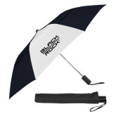 42 Inch Slim Stick Black/White Vented Umbrella-Black Rock