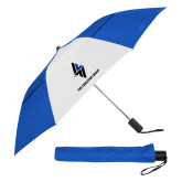 42 Inch Slim Stick Royal/White Vented Umbrella-The Carlstar Group