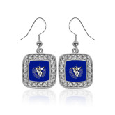 Crystal Studded Square Pendant Silver Dangle Earrings-Fighting Saints