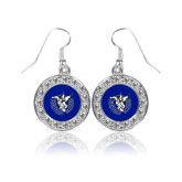 Crystal Studded Round Pendant Silver Dangle Earrings-Fighting Saints